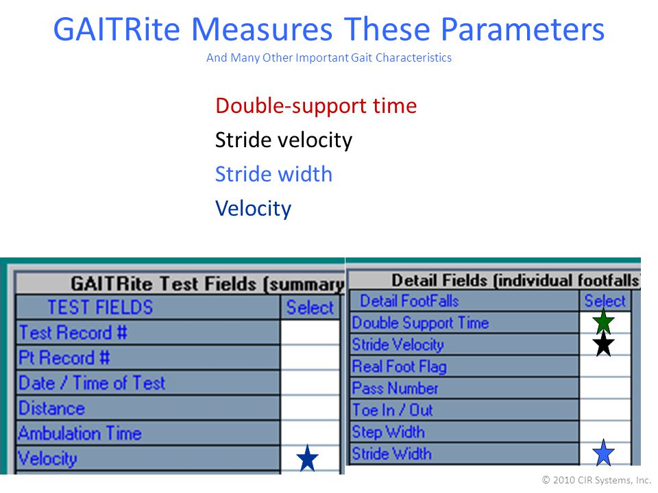 GAITRite Measures These Parameters And Many Other Important Gait Characteristics