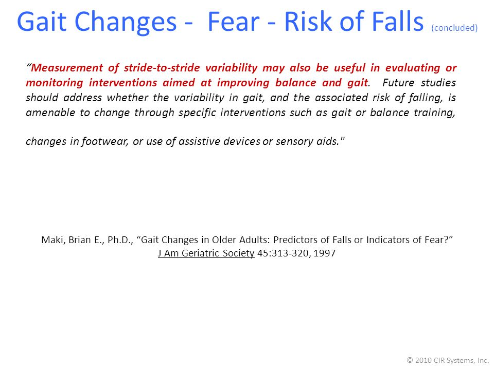 Gait Changes - Fear - Risk of Falls (concluded)
