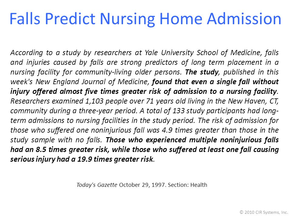 Falls Predict Nursing Home Admission