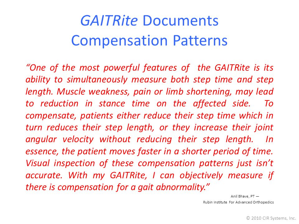 GAITRite Documents Compensation Patterns