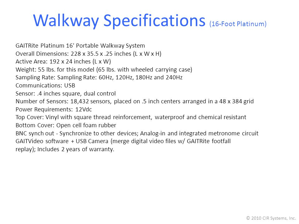 Walkway Specifications (16-Foot Platinum)