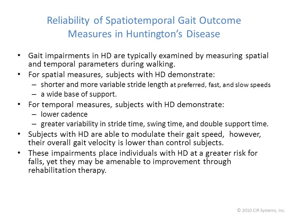 Reliability of Spatiotemporal Gait Outcome Measures in Huntington's Disease