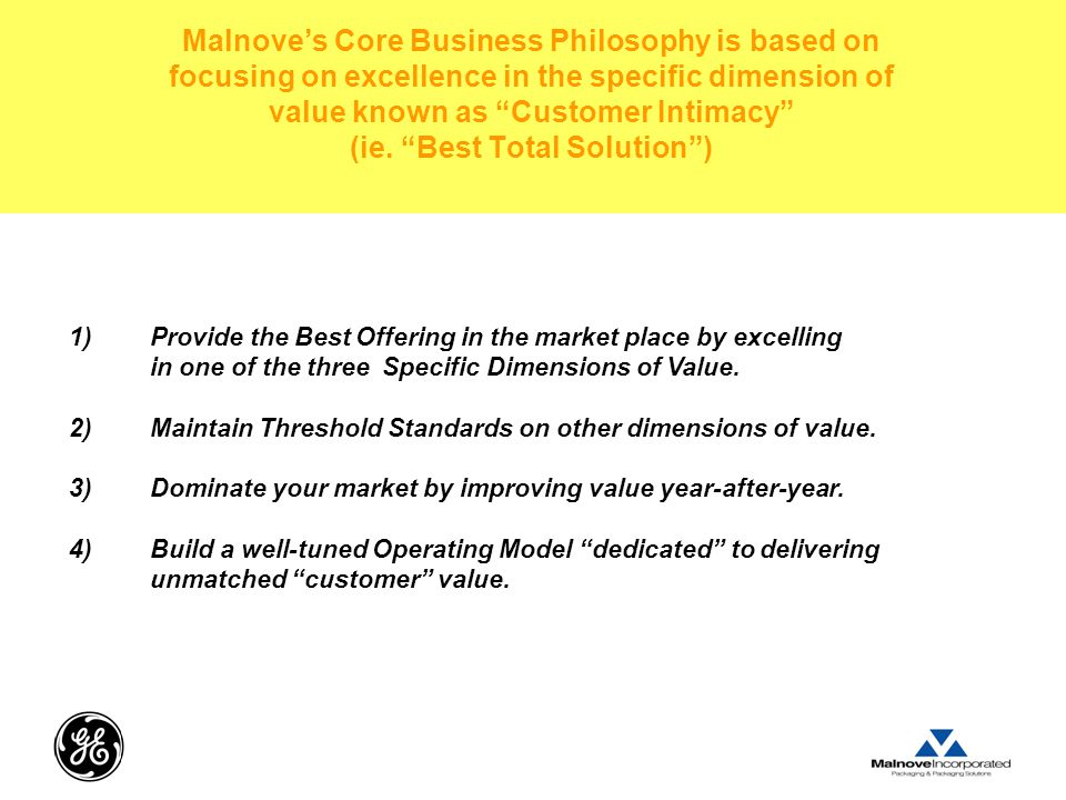 Malnove's Core Business Philosophy is based on focusing on excellence in the specific dimension of value known as Customer Intimacy (ie. Best Total Solution )