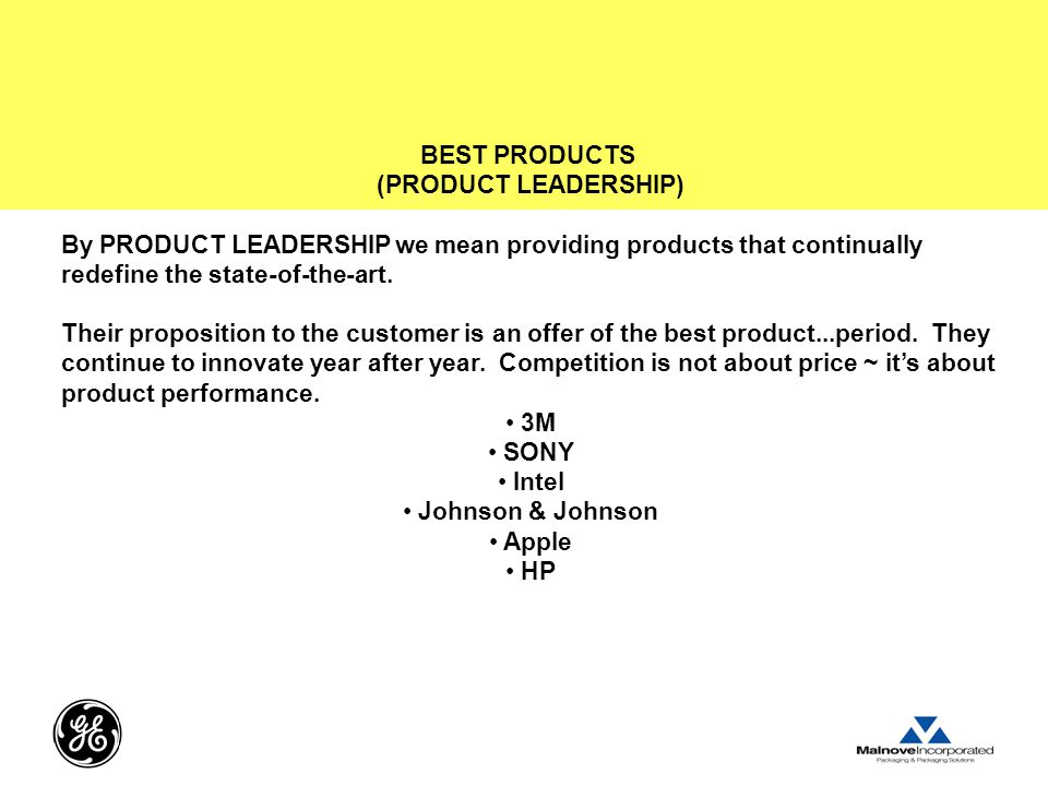 BEST PRODUCTS (PRODUCT LEADERSHIP) By PRODUCT LEADERSHIP we mean providing products that continually redefine the state-of-the-art.