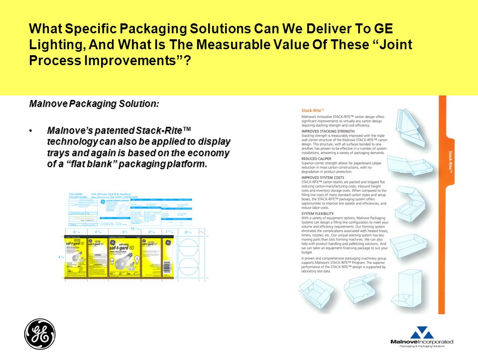 What Specific Packaging Solutions Can We Deliver To GE Lighting, And What Is The Measurable Value Of These Joint Process Improvements