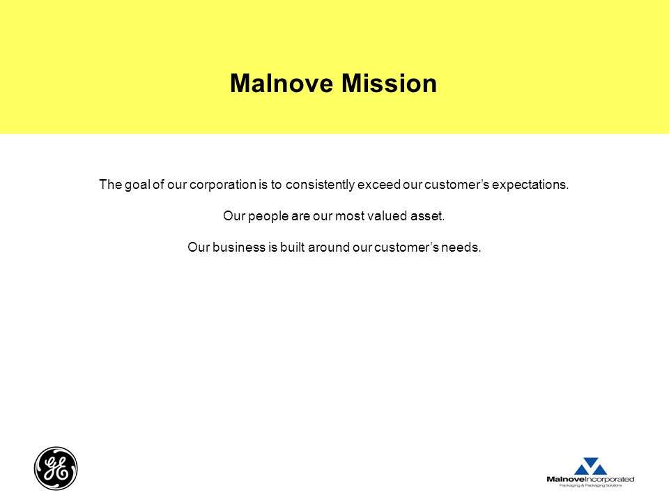 Malnove Mission The goal of our corporation is to consistently exceed our customer's expectations. Our people are our most valued asset.