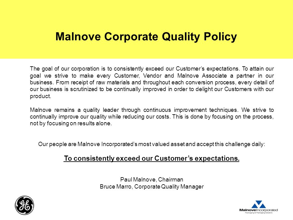 Malnove Corporate Quality Policy