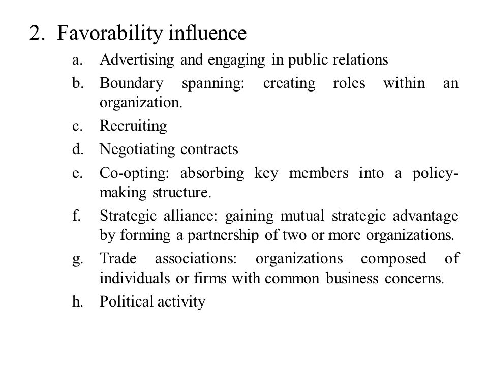 Favorability influence