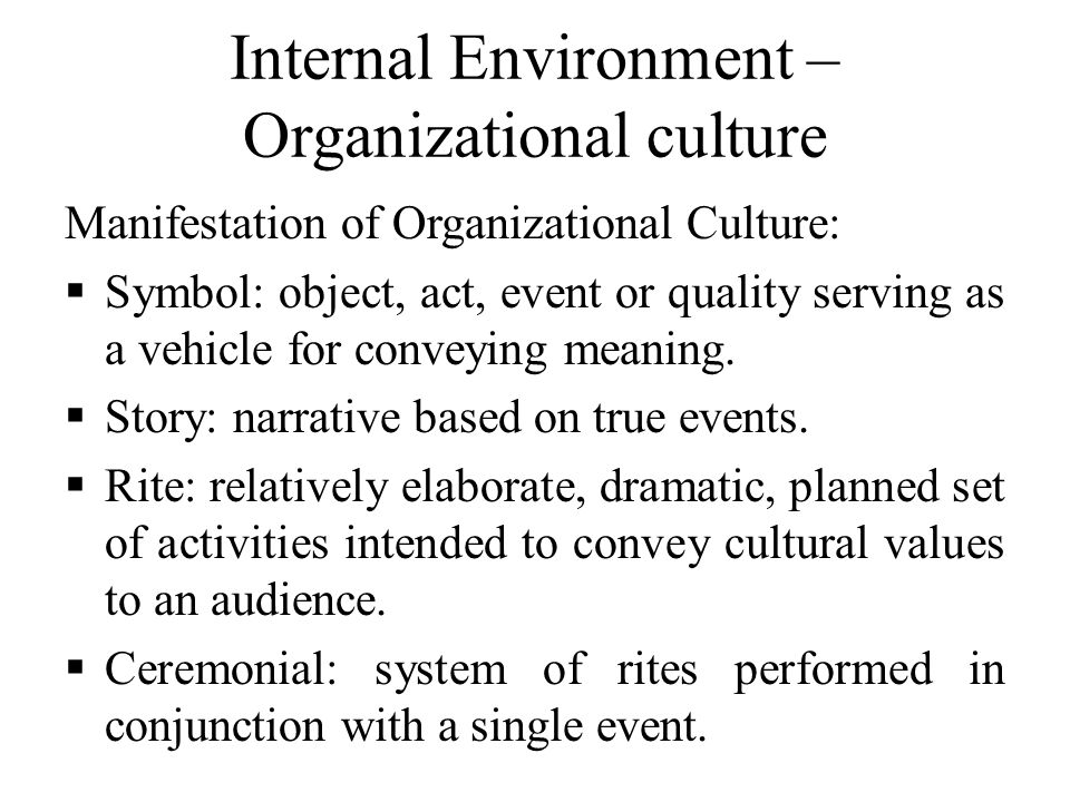 Internal Environment – Organizational culture