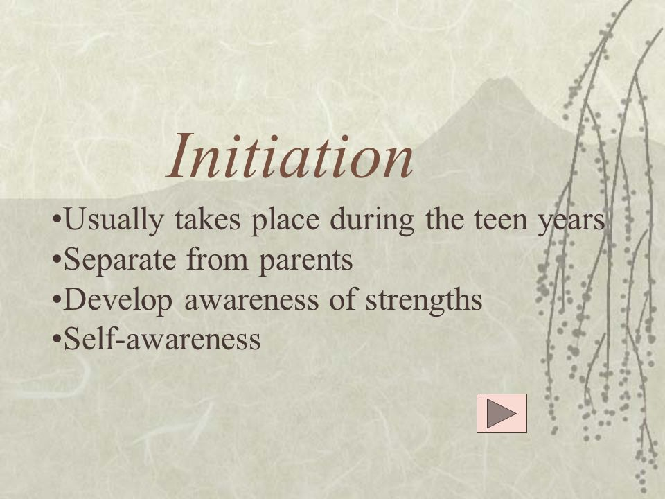 Initiation Usually takes place during the teen years