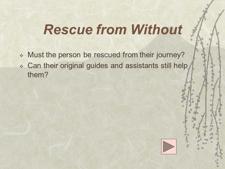 Rescue from Without Must the person be rescued from their journey
