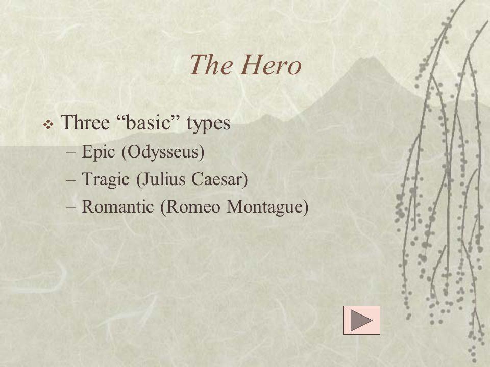 The Hero Three basic types Epic (Odysseus) Tragic (Julius Caesar)