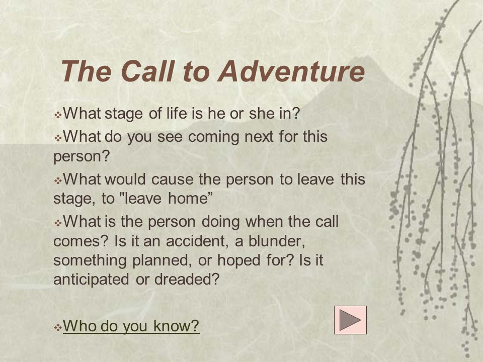 The Call to Adventure What stage of life is he or she in