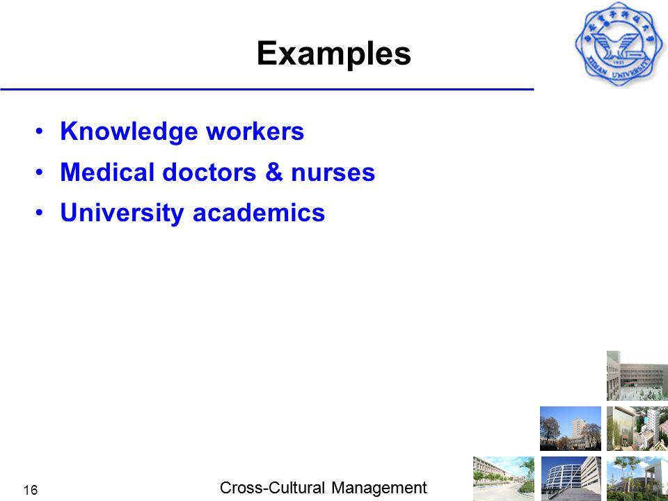 Examples Knowledge workers Medical doctors & nurses