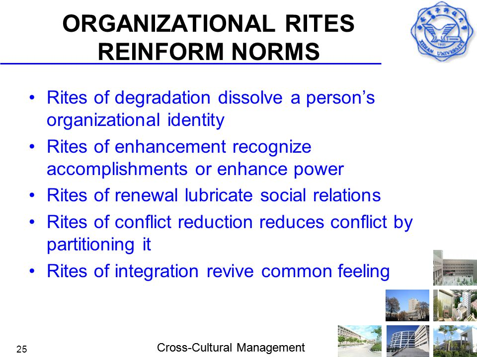 ORGANIZATIONAL RITES REINFORM NORMS