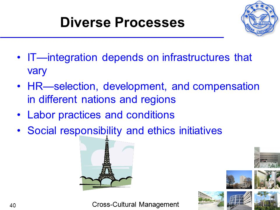 Diverse Processes IT—integration depends on infrastructures that vary