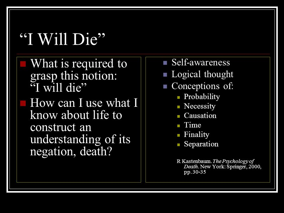 I Will Die What is required to grasp this notion: I will die