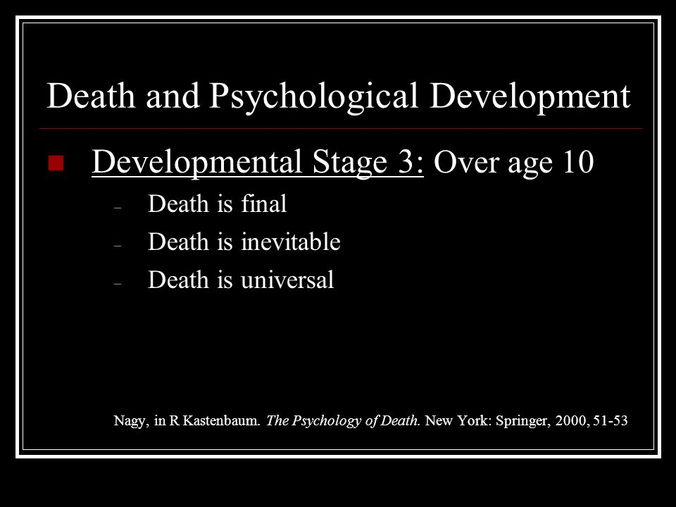 Death and Psychological Development