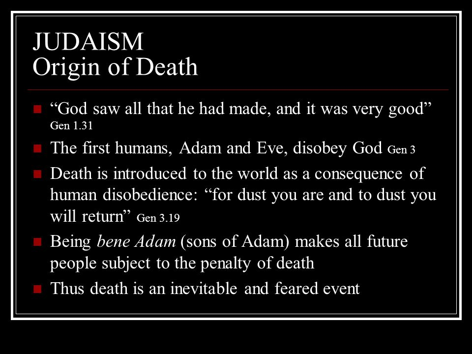 JUDAISM Origin of Death