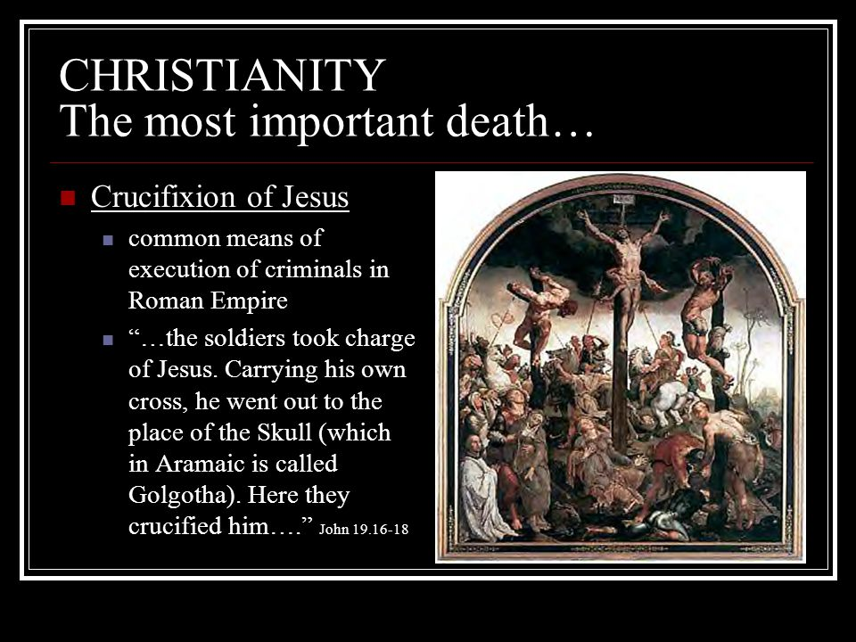 CHRISTIANITY The most important death…