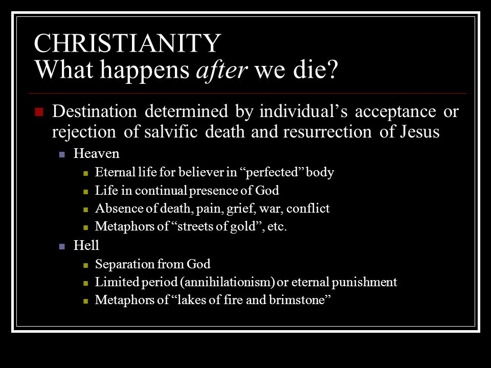 CHRISTIANITY What happens after we die