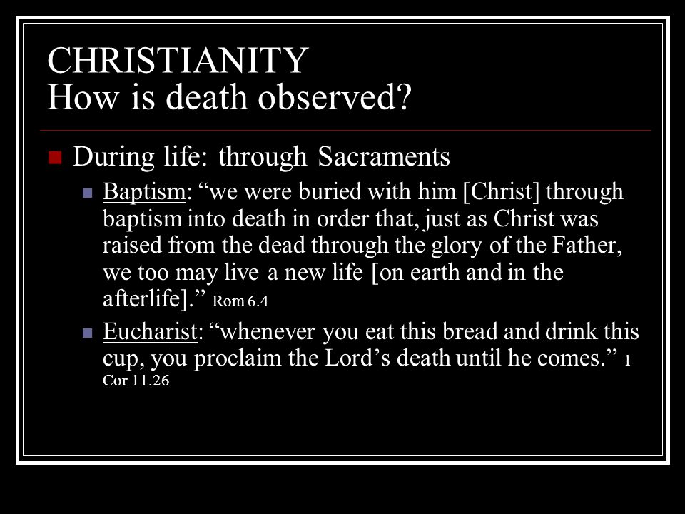 CHRISTIANITY How is death observed