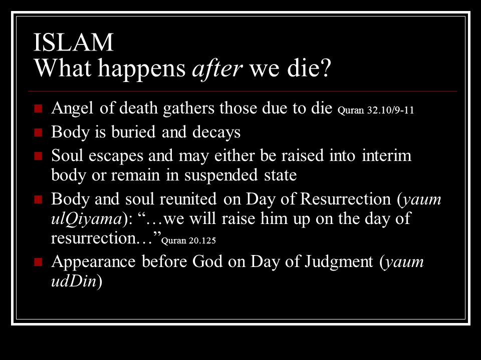 ISLAM What happens after we die