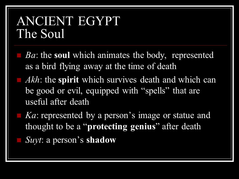ANCIENT EGYPT The Soul Ba: the soul which animates the body, represented as a bird flying away at the time of death.