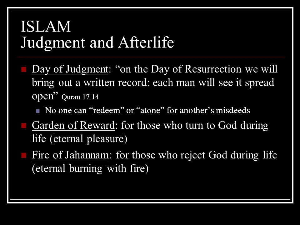 ISLAM Judgment and Afterlife