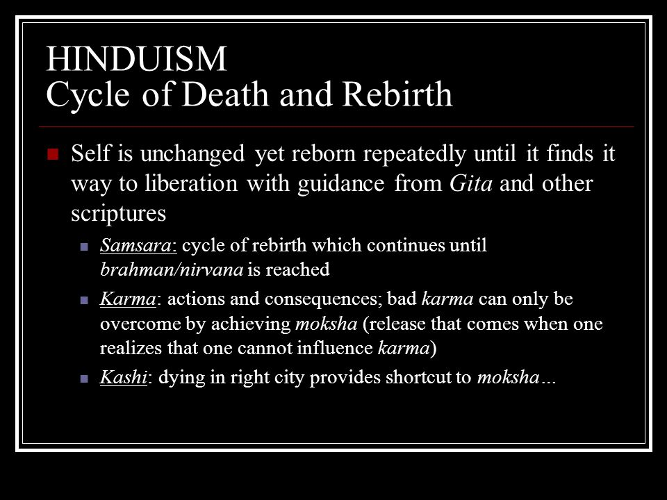 HINDUISM Cycle of Death and Rebirth