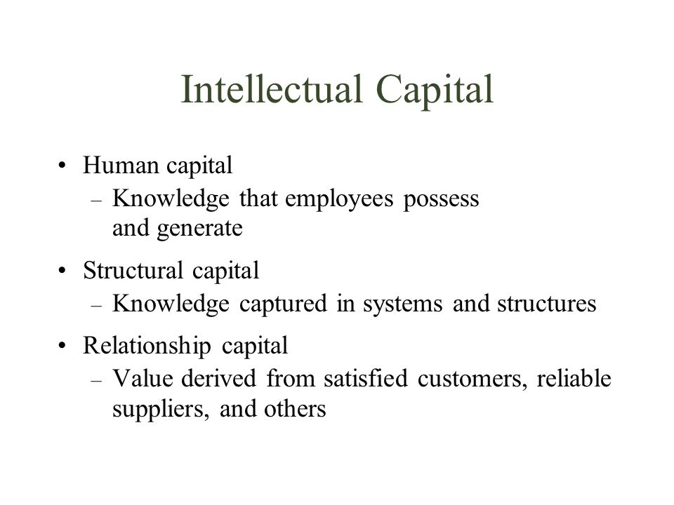 Intellectual Capital Human capital