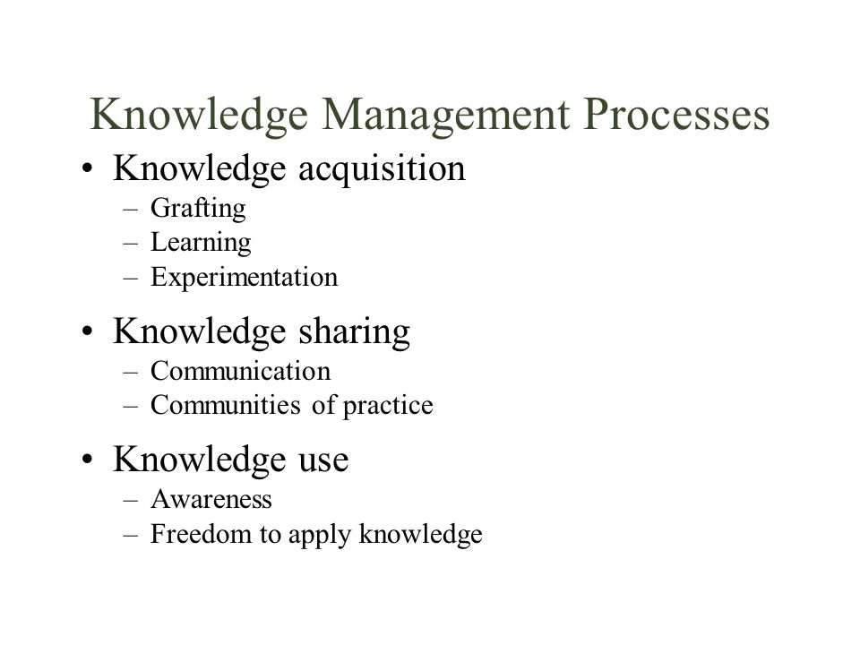 Knowledge Management Processes