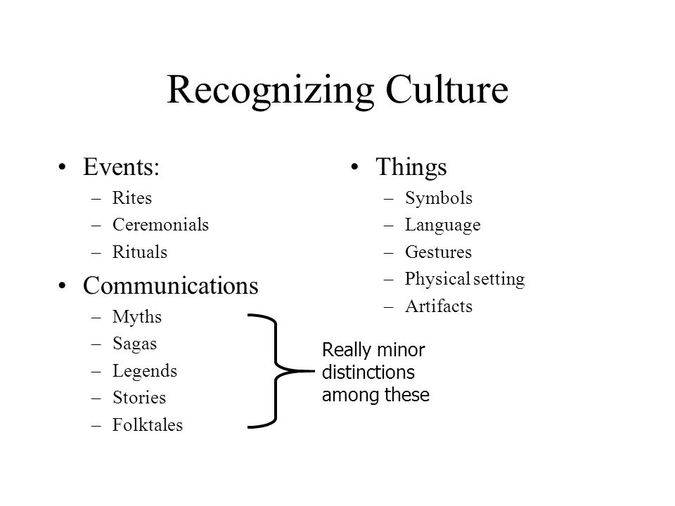 Recognizing Culture Events: Communications Things Rites Ceremonials