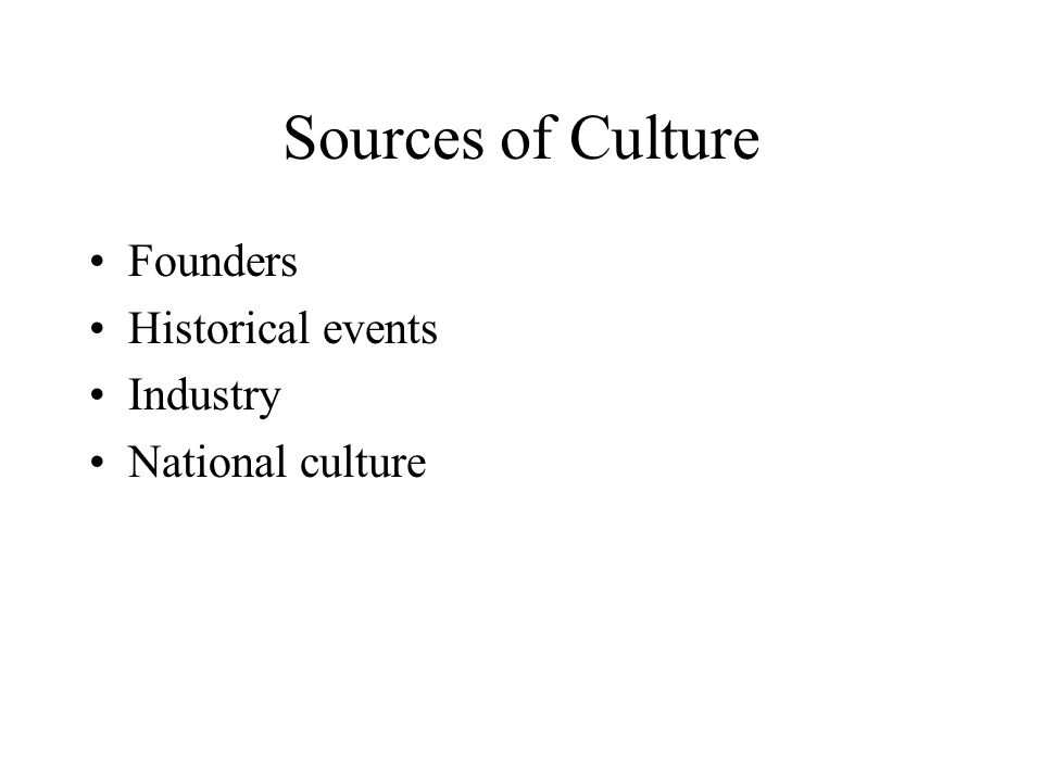 Sources of Culture Founders Historical events Industry