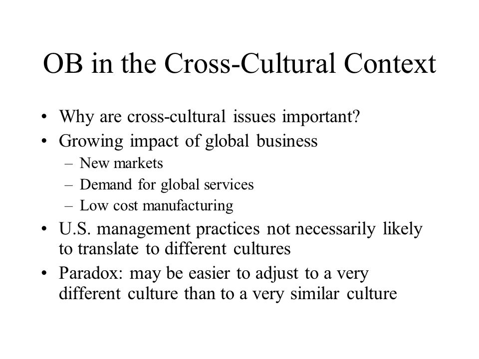 OB in the Cross-Cultural Context