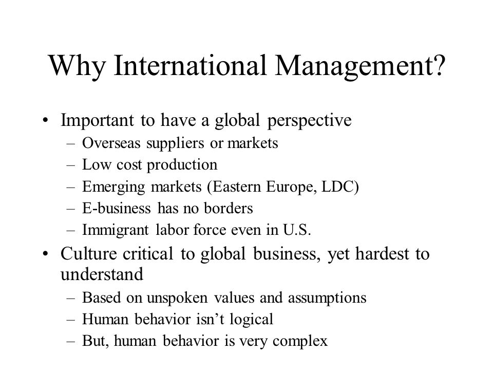 Why International Management