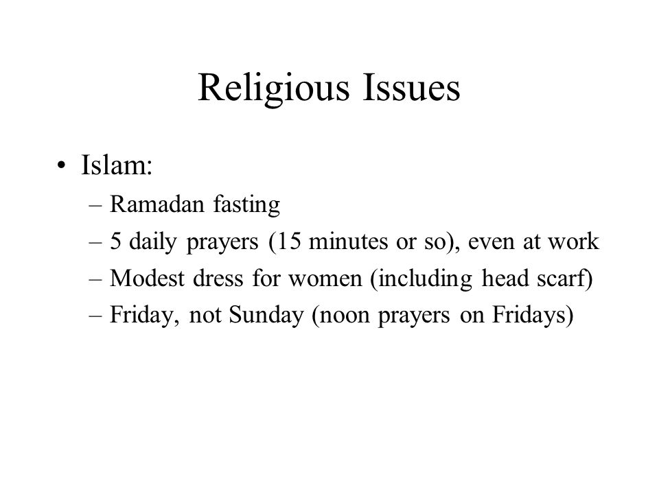 Religious Issues Islam: Ramadan fasting