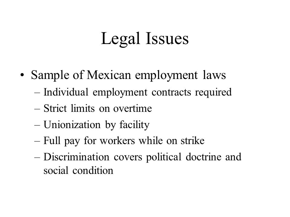 Legal Issues Sample of Mexican employment laws