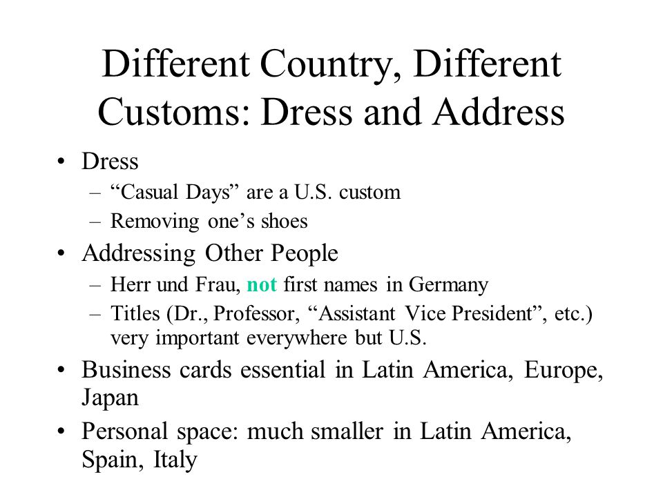 Different Country, Different Customs: Dress and Address