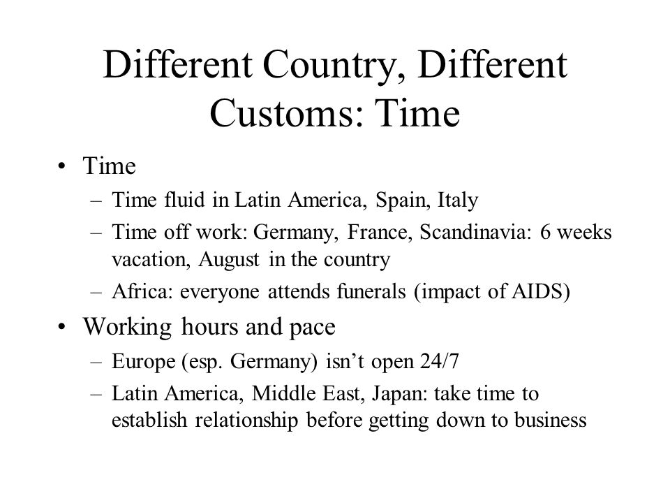 Different Country, Different Customs: Time