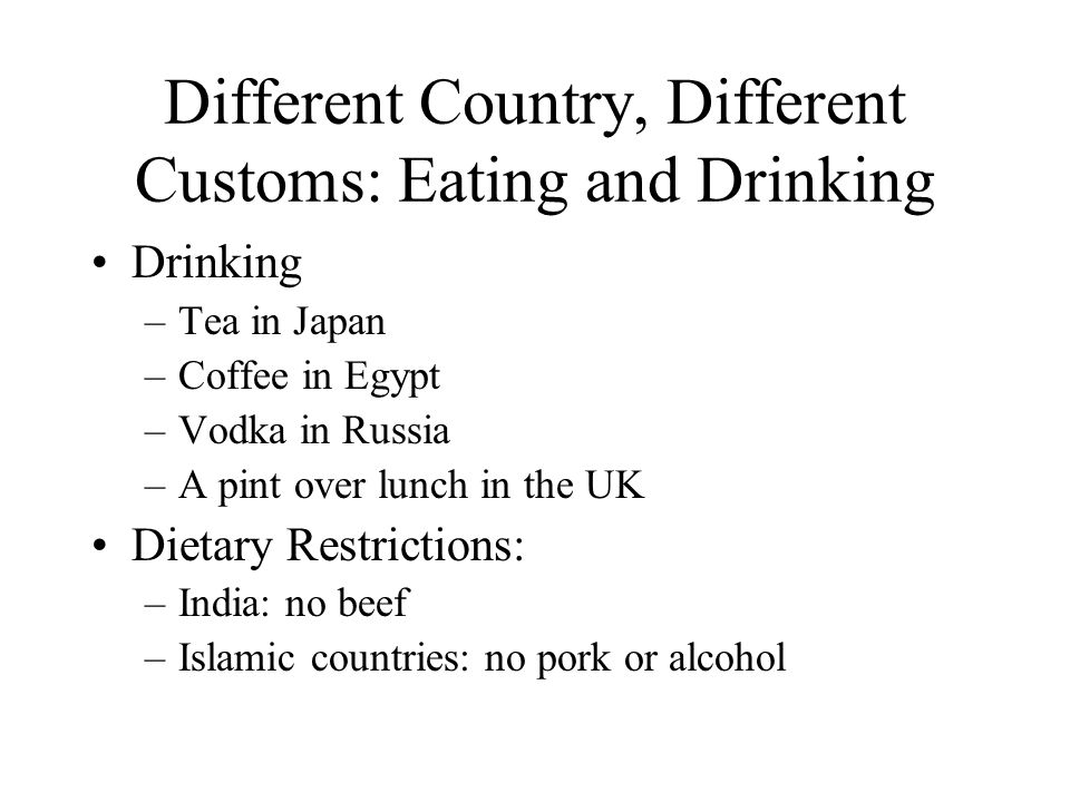 Different Country, Different Customs: Eating and Drinking