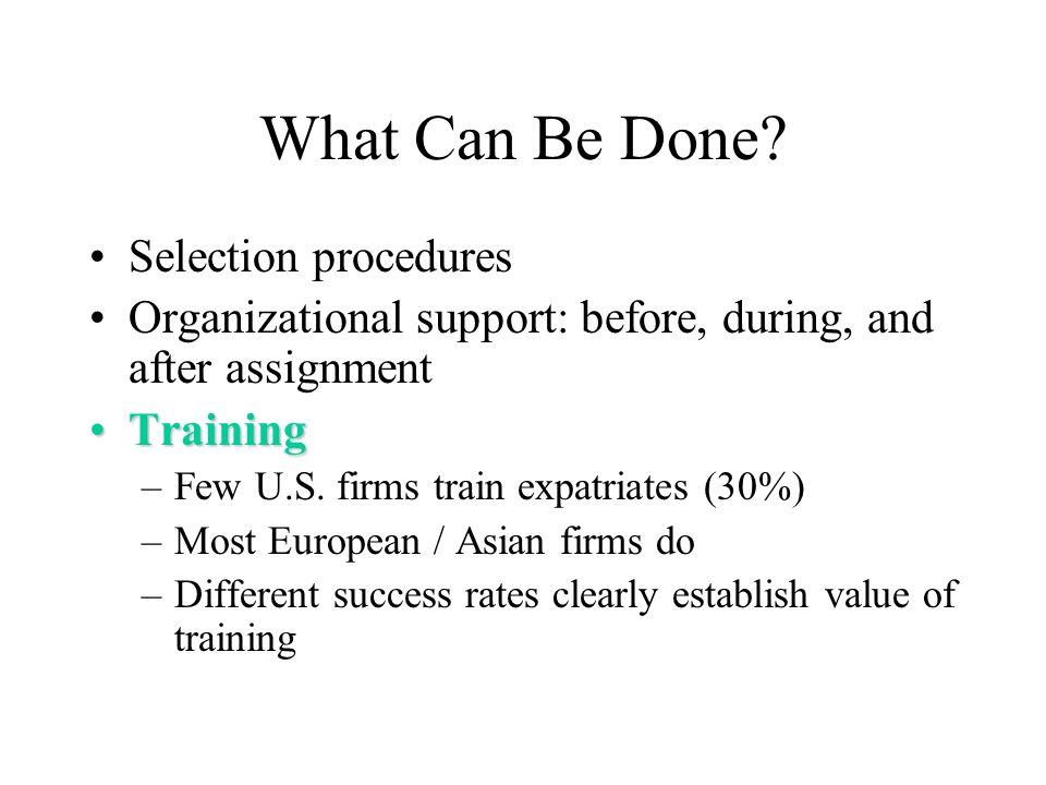 What Can Be Done Selection procedures