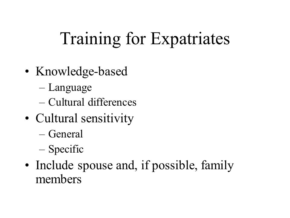 Training for Expatriates