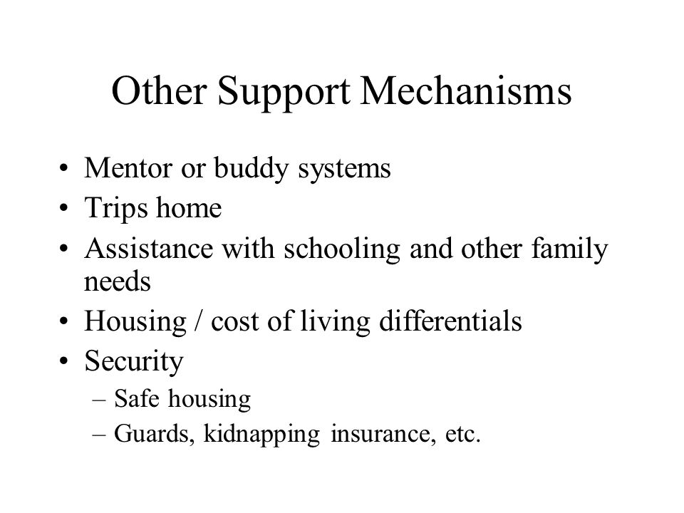 Other Support Mechanisms
