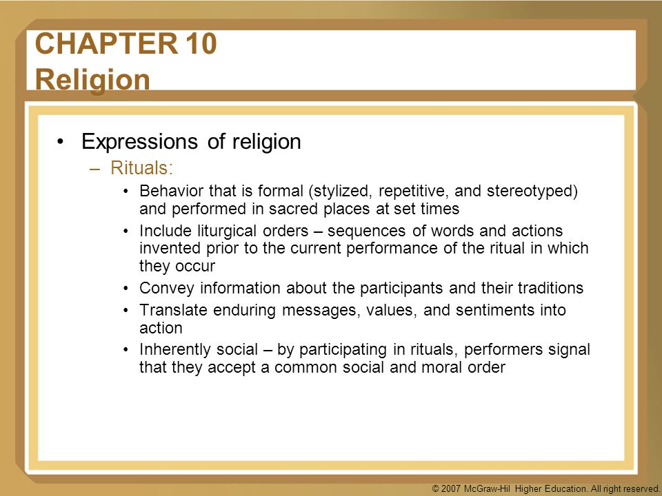 CHAPTER 10 Religion Expressions of religion Rituals: