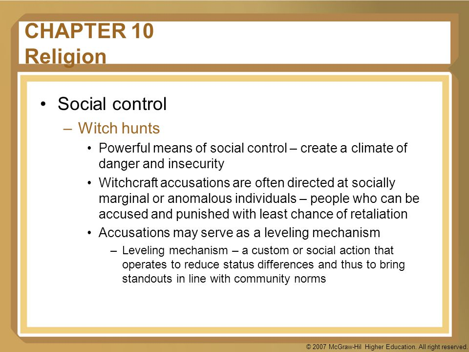 CHAPTER 10 Religion Social control Witch hunts