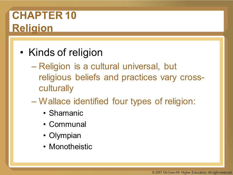 CHAPTER 10 Religion Kinds of religion