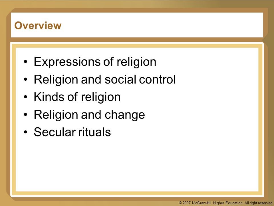 Expressions of religion Religion and social control Kinds of religion