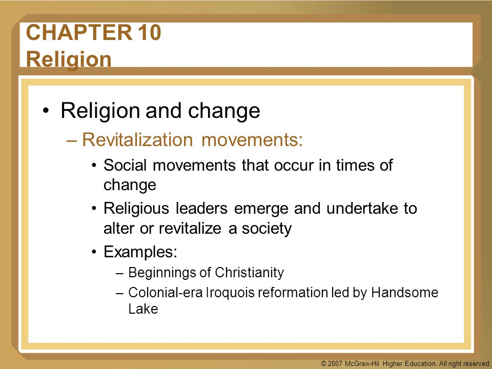 CHAPTER 10 Religion Religion and change Revitalization movements: