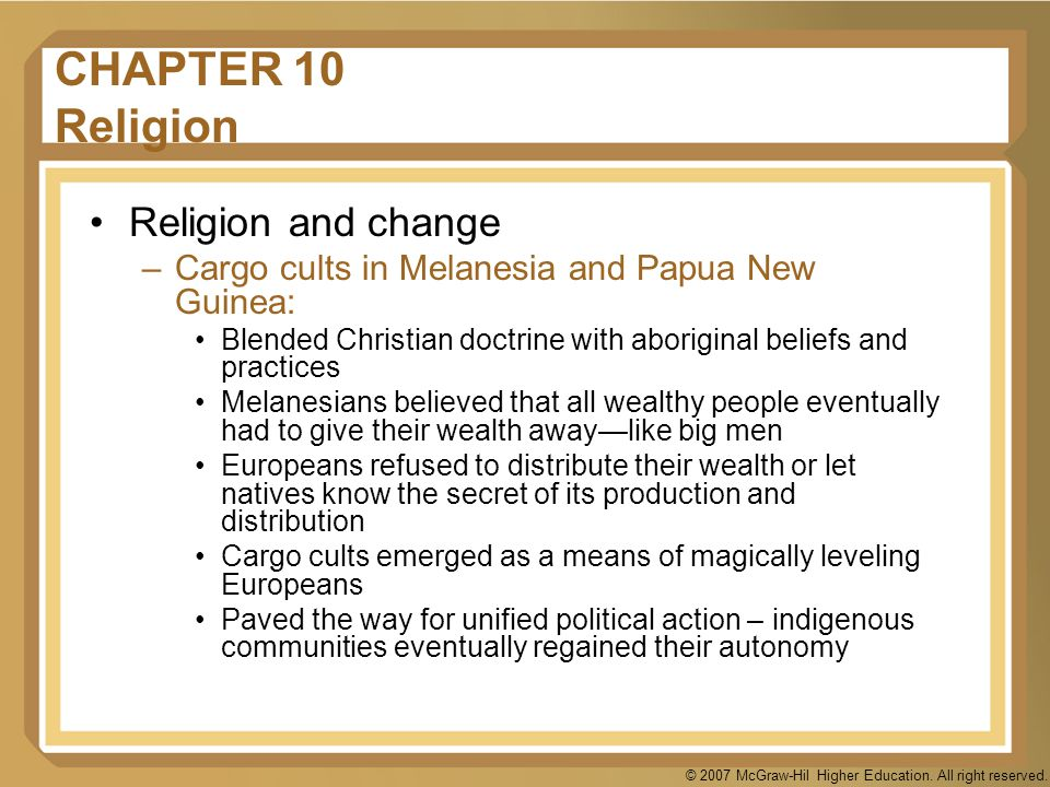 CHAPTER 10 Religion Religion and change
